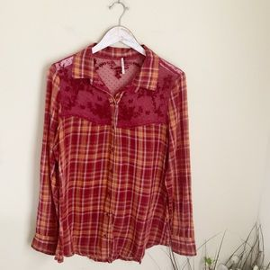 Free People red plaid blouse lace embroidered
